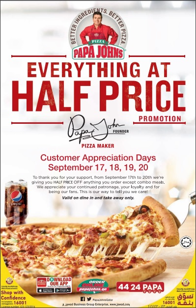 Papa Johns Pizza Half Price Promo