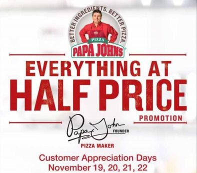 pizza half price at papa johns