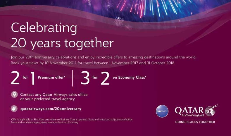 qatar airways 20th anniversary promo